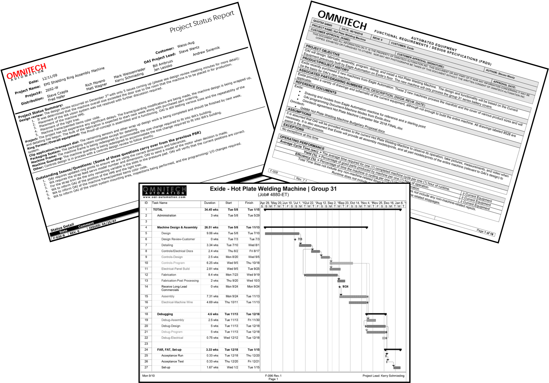 Collage of project management documents